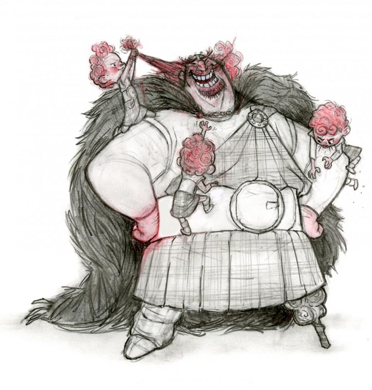 Ribelle - The Brave: Re Fergus con i bambini in un Concept Art a matita del film