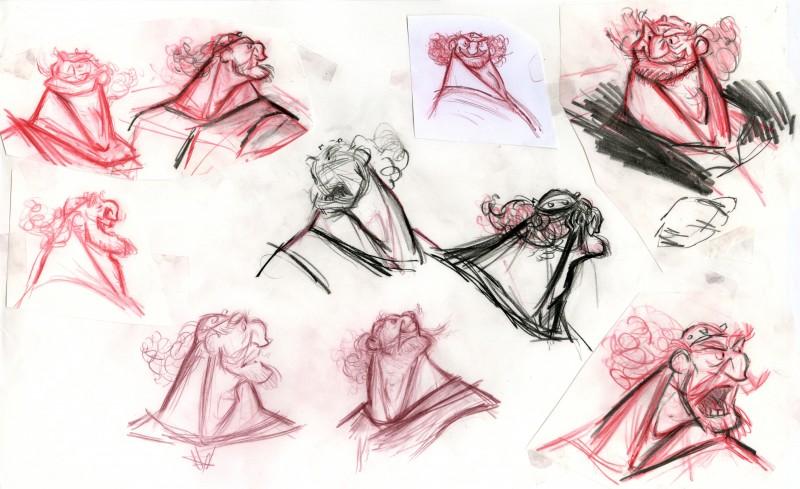Ribelle - The Brave: studi a matita per Re Fergus in un Concept Art del film