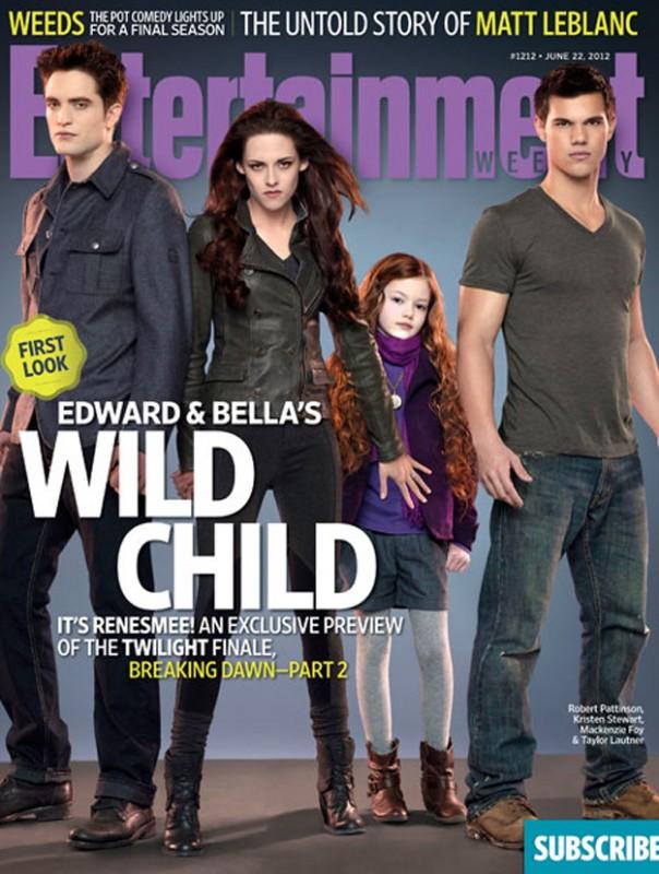Robert Pattinson, Kristen Stewart, la loro figlioletta Mackenzie Foy e Taylor Lautner sulla copertina di Enterteinment Weekly