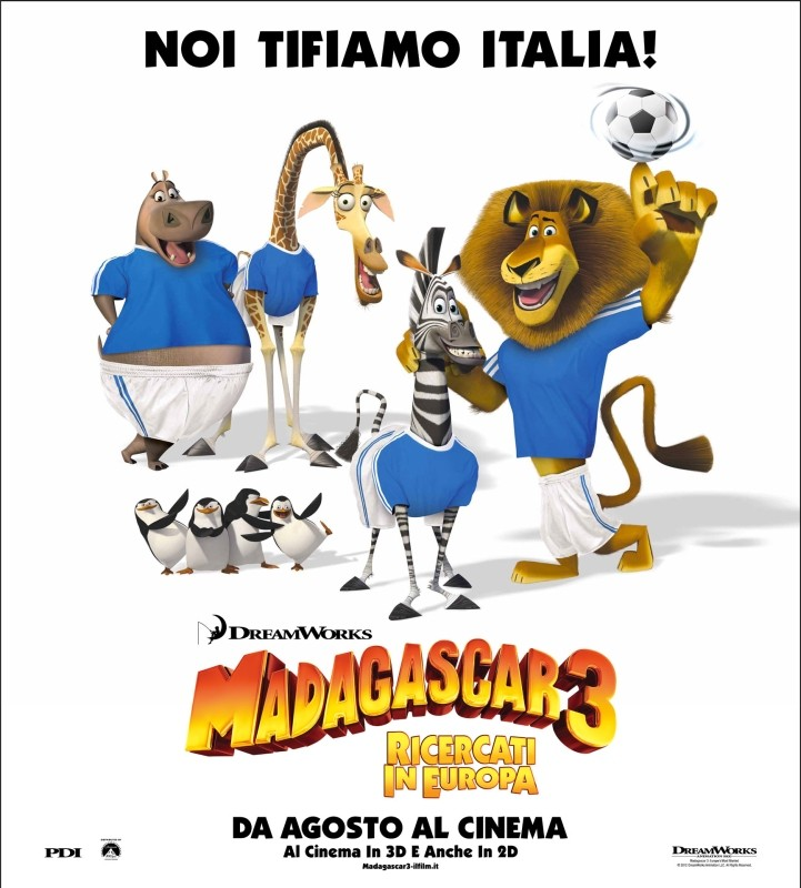 Madagascar 3: ricercati in Europa, Melman, Marty, Alex e Gloria tifano Italia agli Europei di calcio!
