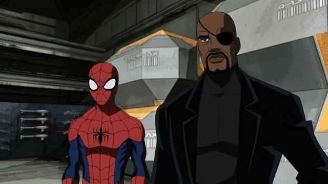 Spider-Man e Nick Fury in una scena della serie animata Ultimate Spider-Man