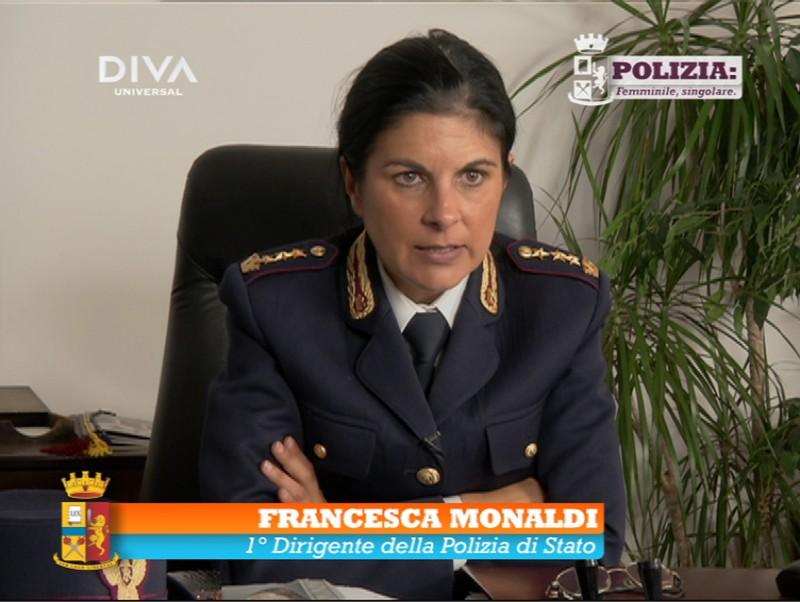 Polizia: femminile, singolare. In difesa delle donne: Francesca Monaldi in un'immagine tratta dal programma di Diva Universal