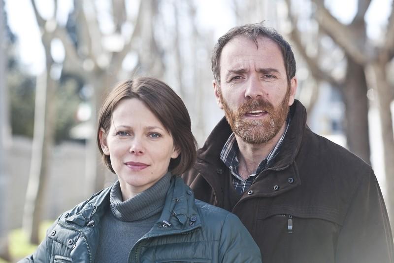 Gli equilibristi: Valerio Mastandrea e Barbora Bobulova posano sul set del film