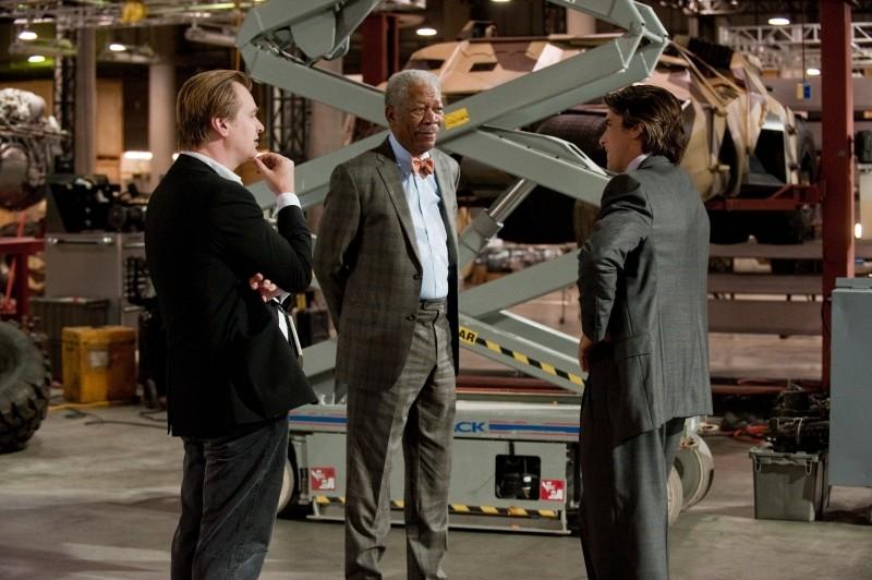 Il cavaliere oscuro - Il ritorno: Christopher Nolan, Morgan Freeman e Christian Bale sul set del film