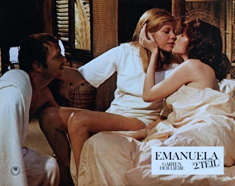 Sylvia Kristel in Emmanuelle 2: l'antivergine con Umberto Orsini e Catherine Rivet