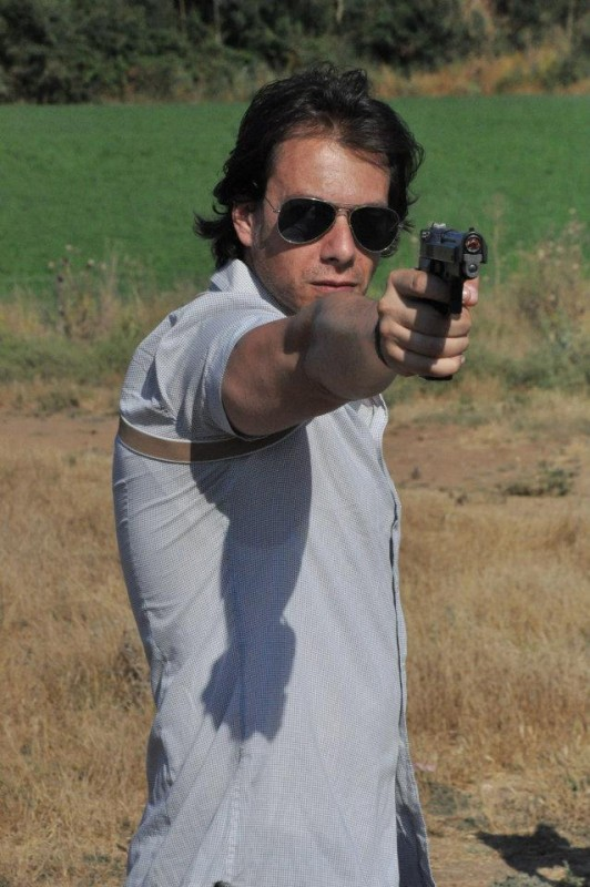 Giuseppe Milazzo Andreani durante le riprese del film Fratelli minori regia di Carmen Giardina