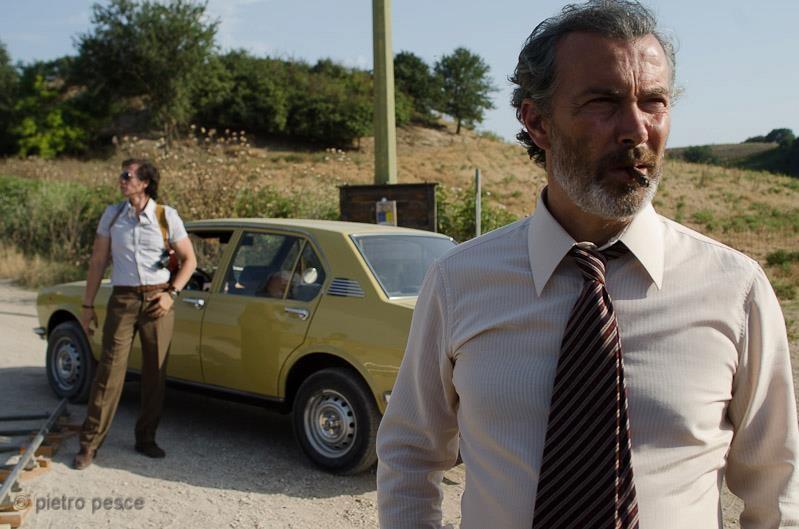 Giuseppe Milazzo Andreani sul set del film Fratelli minori insieme a Paolo Sassanelli