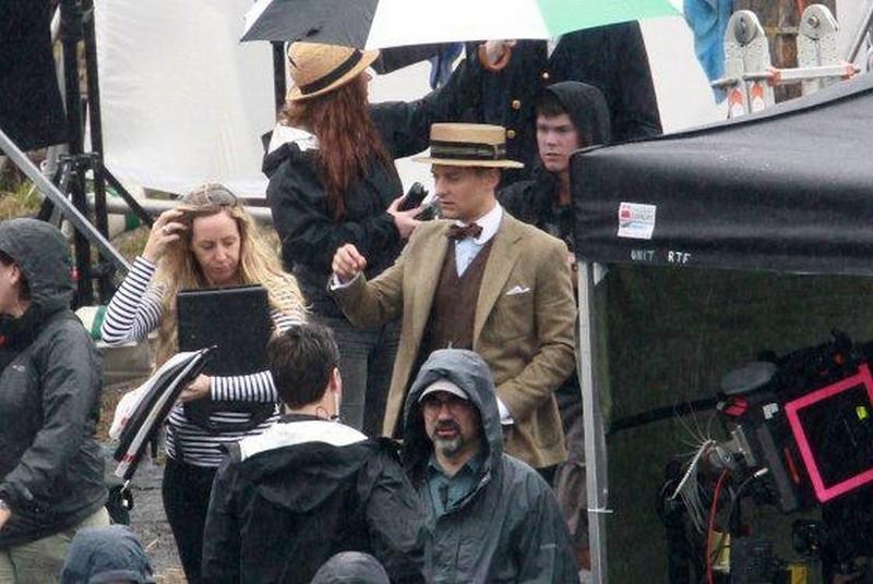 Tobey Maguire sul set de Il Grande Gatsby