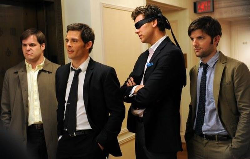 Bachelorette: Adam Scott, James Marsden, Kyle Bornheimer e Hayes MacArthur in una scena