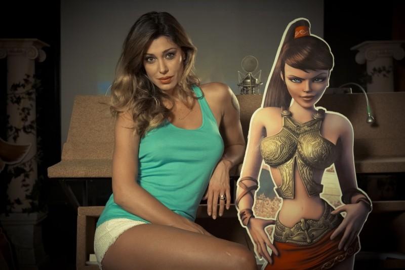 Gladiatori di Roma: Belén Rodríguez, doppiatrice di Diana, in una foto promozionale al fianco del suo personaggio