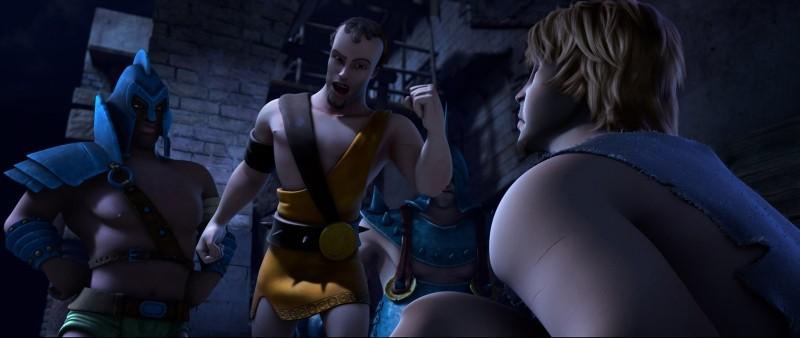Gladiatori di Roma: l'irritante Cassio insieme a Timo in una scena del film