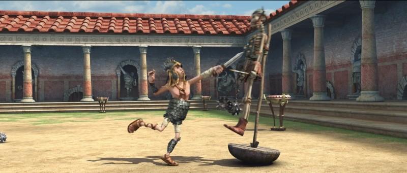 Gladiatori di Roma: lo scattante Mauritius in una divertente scena del film