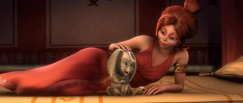 Gladiatori di Roma: Lucilla, il personaggio doppiato da Laura Chiatti, in una scena del film con il coniglietto Grubbo