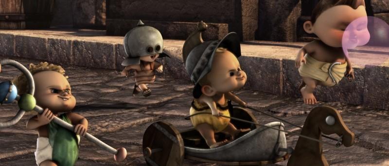Gladiatori di Roma: baby gladiatori in azione in una scena del film animato di Iginio Straffi