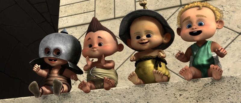 Gladiatori di Roma: baby gladiatori sorridenti fanno il tifo in una scena del film