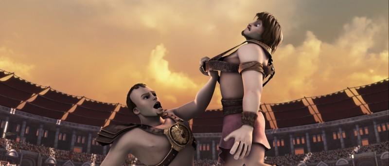 Gladiatori di Roma: Cassio in una scena del film mentre combatte contro Timo
