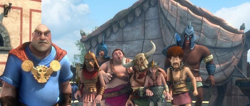 Gladiatori di Roma: Chirone in una scena del film insieme ai suoi gladiatori