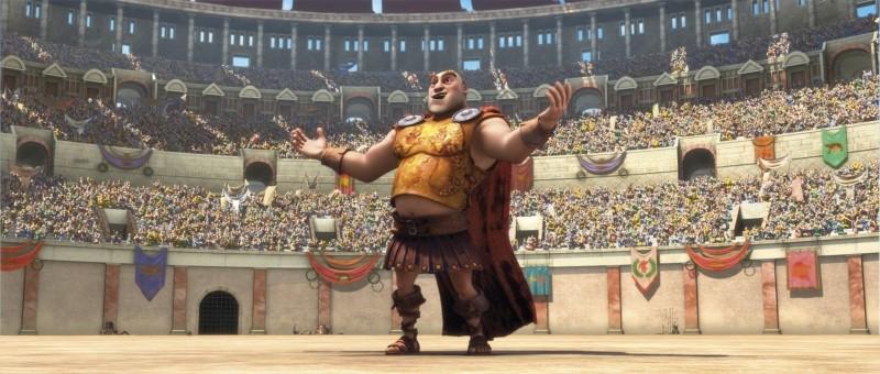 Gladiatori di Roma: il gladiatore Chirone guarda con soddisfazione l'arena affollata in una scena