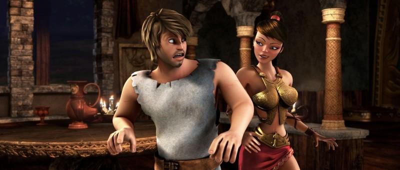 Gladiatori di Roma: Timo a colloquio con la bella Diana in una scena del film