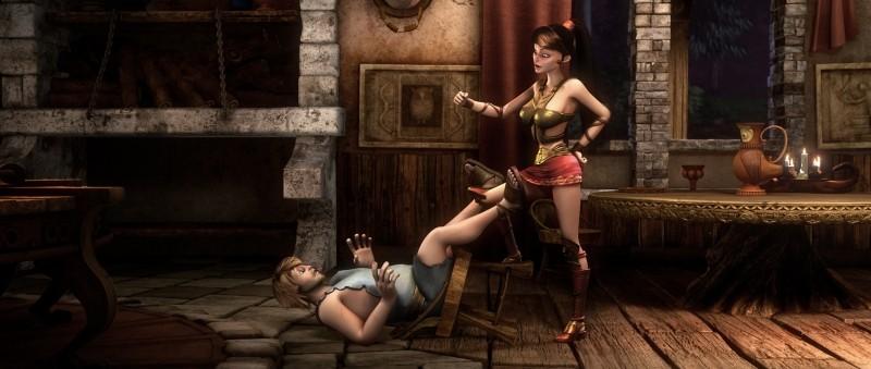 Gladiatori di Roma: Timo tra le grinfie della lottatrice Diana in una scena del film