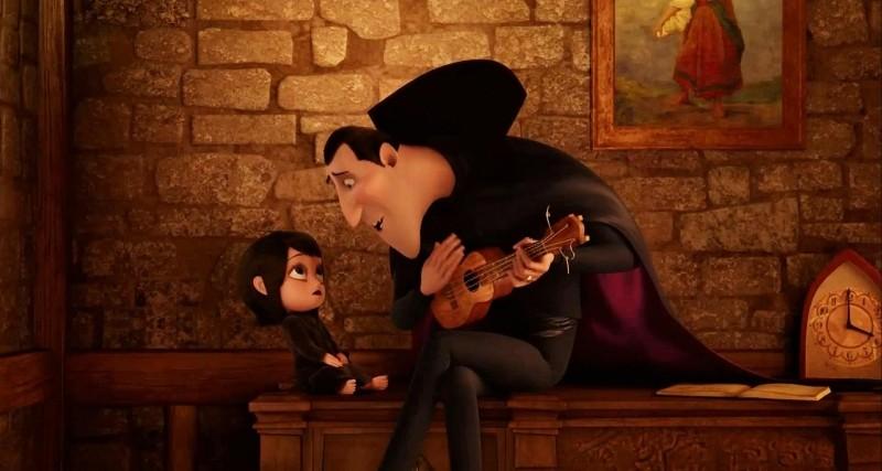 Hotel Transylvania: il conte Dracula con la figlioletta Mavis in una scena del film