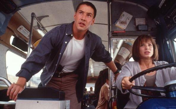 Sandra Bullock in Speed con Keanu Reeves