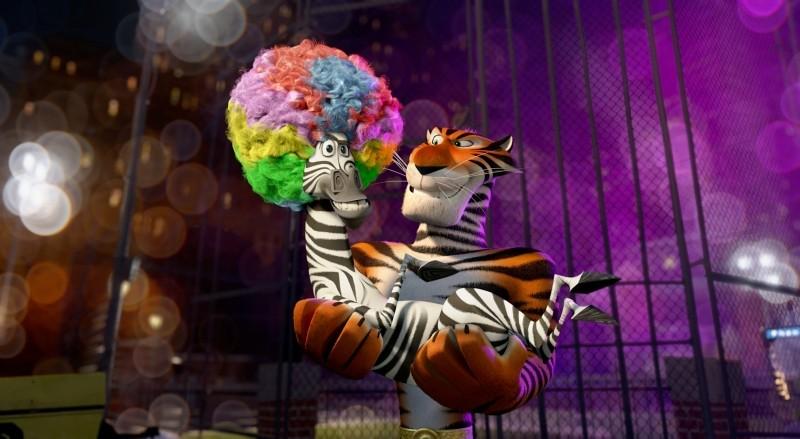 Madagascar 3: ricercati in Europa, la tigre russa Vitaly prende in braccio Marty in una scena del film