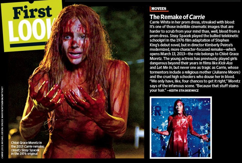Carrie e il remake a confronto secondo Entertainment Weekly: Chloe Moretz e Sissy Spacek