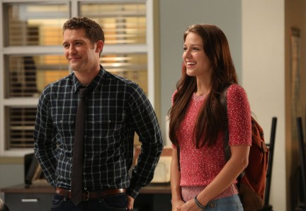 Melissa Benoist e Matthew Morrison in una scena dell'episodio The New Rachel della quarta stagione di Glee