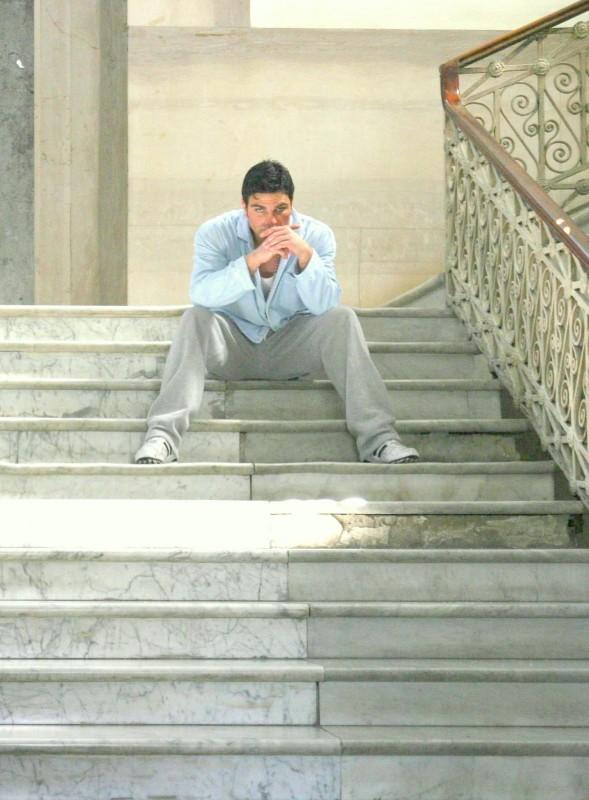 Salvatore Ruocco in una scena del cortometraggio Perpetuolabile (girato nell'ex-manicomio Leonardo Bianchi)