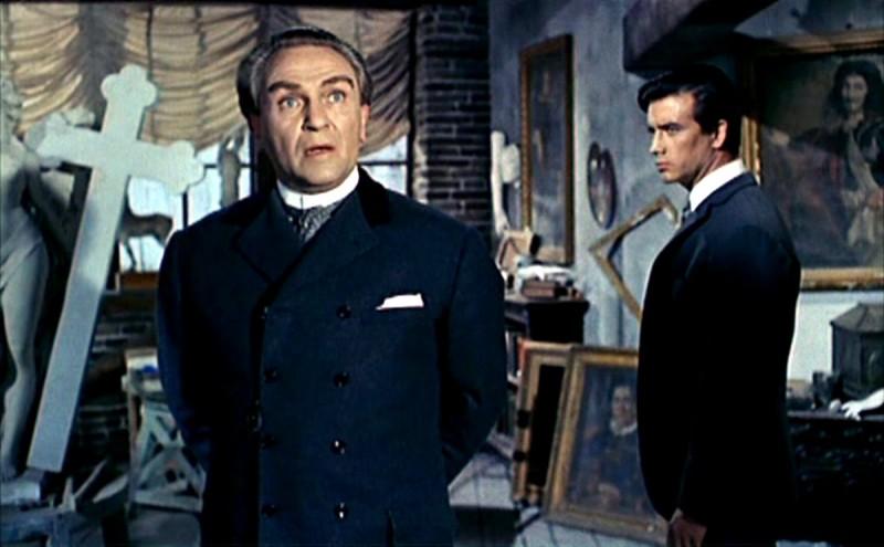 Herbert A.E. Bohme con Pierre Brice in una sequenza dell'horror Il mulino delle donne di pietra