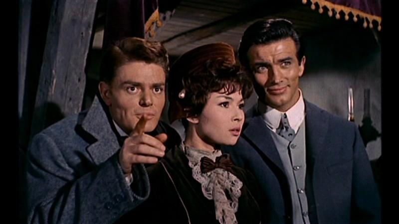 Marco Guglielmi con Dany Carrel e Pierre Brice in una scena del film Il mulino delle donne di pietra