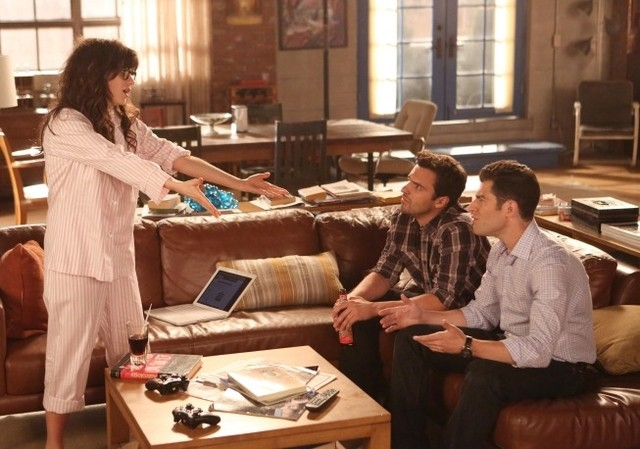 New Girl: Zooey Deschanel, Jake Johnson e Max Greenfield nell'episodio Re-Launch