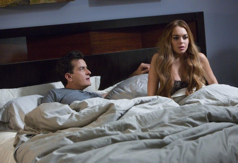 Charlie Sheen e Lindsay Lohan condividono il letto in una scena di Scary Movie 5