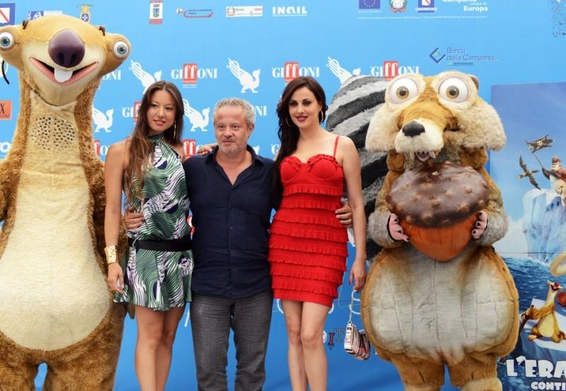 L'era glaciale 4: Continenti alla deriva - Marco Guadagno con le doppiatrici Ada Perotti, Isabelle Adriani e i pelosi Scrat e Sid al Giffoni FIlm Festival 2012
