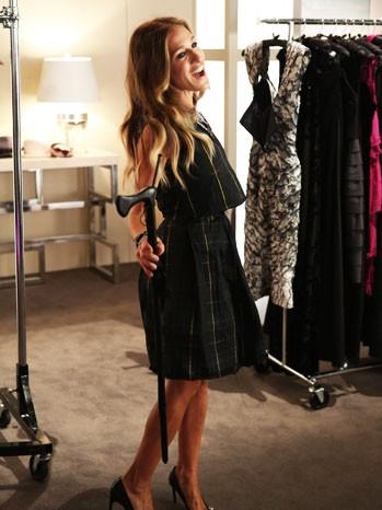 Jessica Parker durante una scena dell'episodio Makeover della terza stagione di Glee