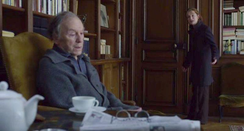 Amour: Jean-Louis Trintignant con Isabelle Huppert in una scena del film