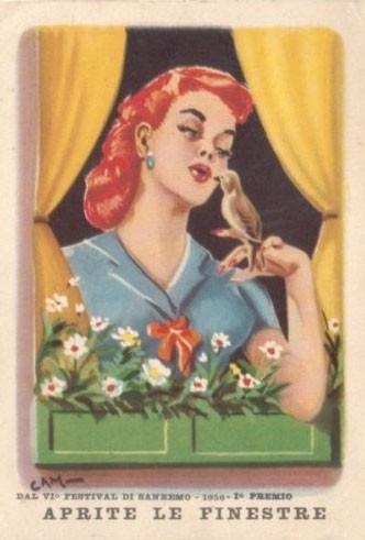 Sanremo 1956 - un'illustrazione che promuove il successo del brano Aprite le finestre