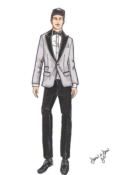 Festival di Sanremo 2009: lo schizzo di DSquared per l'abito indossato da Marco Carta