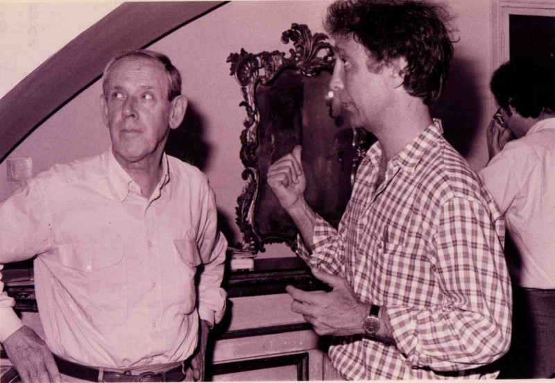 Barnabei con Enzo Garinei sul set del documentario Complimenti che carattere, 1996