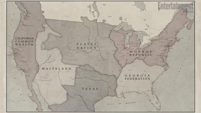 Revolution: la mappa del Nord America come suddiviso nella serie