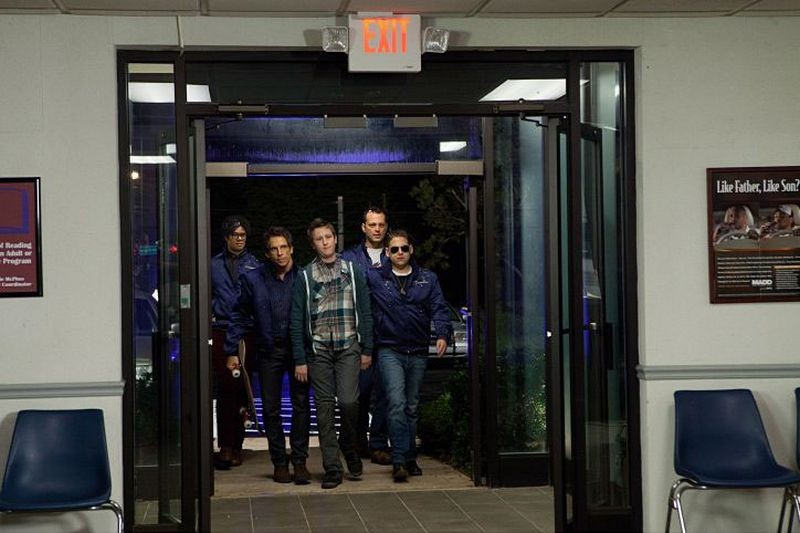 Vicini del terzo tipo: Ben Stiller, Vince Vaughn, Richard Ayoade, Johnny Pemberton e Jonah Hill in una scena