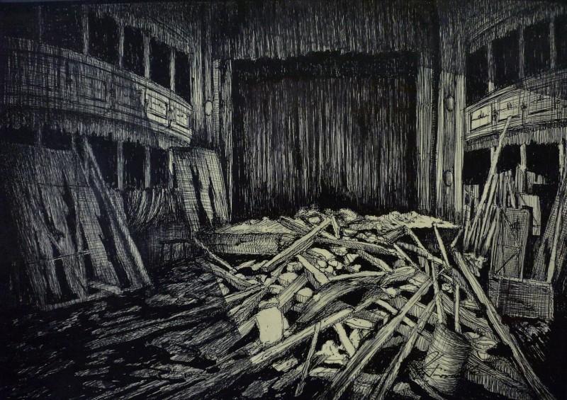 Il Commissario Nardone - Bozzetto scenografia del teatro in rovina (G. Pirrotta)