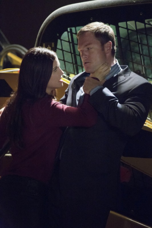 Tahmoh Penikett e Jessica De Gouw in una scena dell'episodio Muse of Fire della serie Arrow