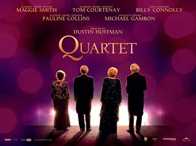Quartet: bellissimo poster orizzontale del film diretto da Dustin Hoffman