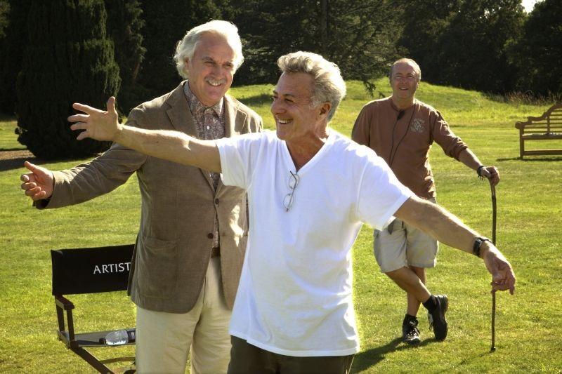 Quartet: Billy Connolly sul set del film insieme al regista Dustin Hoffman