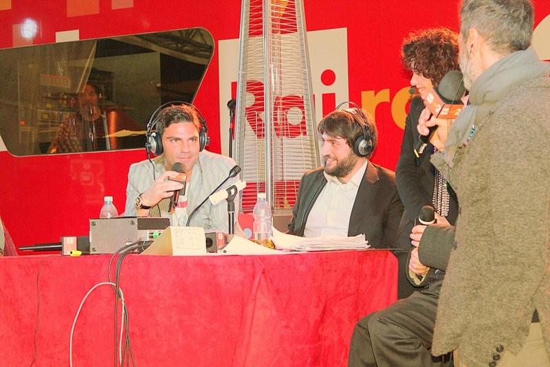 Salvatore Ruocco durante l'Intervista in pubblico per RAI RADIO2 Con Cecilia Dazzi e Andrea Santonastaso, durante il Festival Internazionale del Film di Roma 2012.