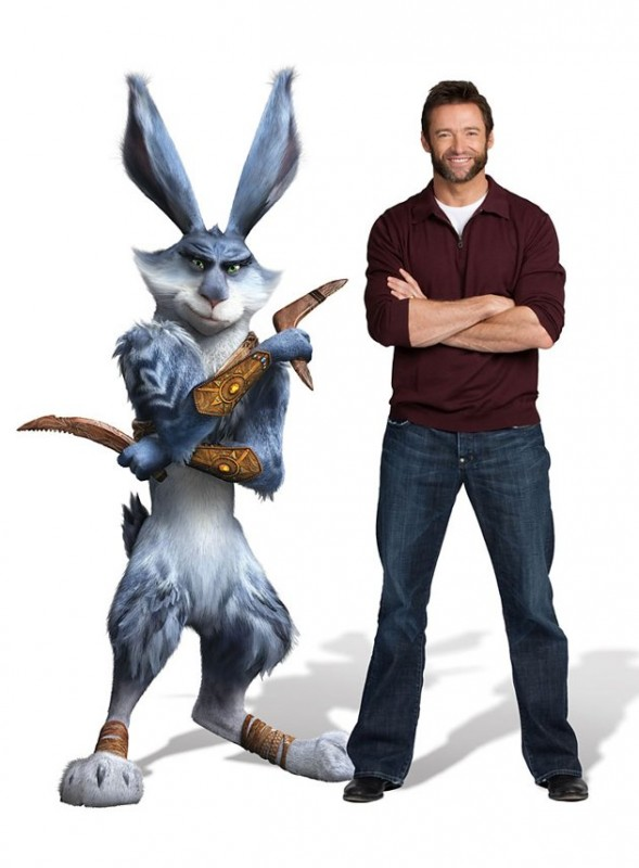 Le 5 leggende: Hugh Jackman accanto a Bunny in una immagine promo