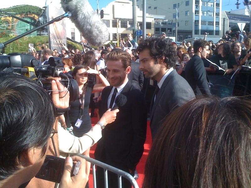 Lo hobbit - Un viaggio inaspettato: Fili (Dean O' Gorman) e Kili (Aidan Turner) alla premiere di Wellington