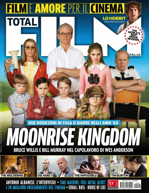 Moonrise Kingdom e i protagonisti del film sulla cover di Total Film Italia.
